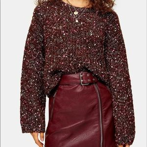 TOPSHOP KNITTED NEPPY CROPPED JUMPER Sweater